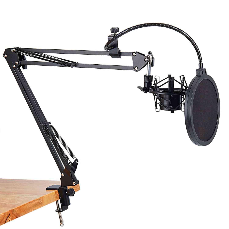Mikrofon saksearmstativ og bordmonteringsklemme med filtervindskærm og metalmonteringssæt