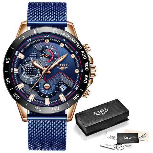 Luksuzna zapestna ura, kremenčeva ura - moški nepremočljiv športni kronograf