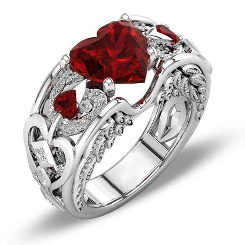 Austrian Crystals - Sterling Silver, Heart Zircon Engagement Rings For Women