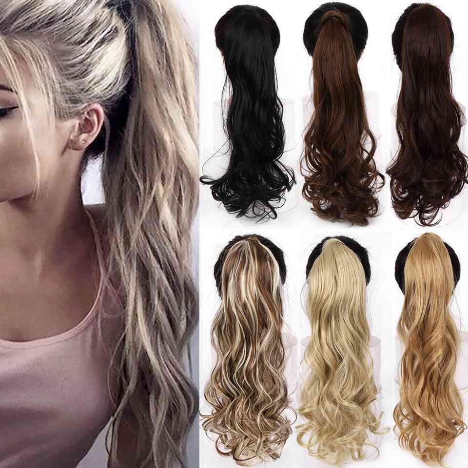 Long Wavy Wrap Around Clip In Ponytail Hair Extension - Heat Resistant Synthetic Natural Wave Pony Tail Extension