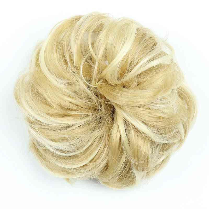 Krøllete scrunchie chignon med gummibånd - syntetisk hårring innpakket - rotete bolle hestehaler - Q20-1b