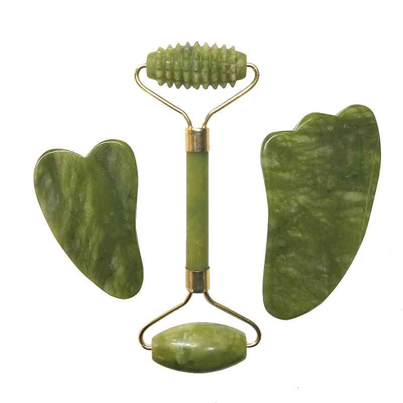 Natural Jade Roller Facial Massager - Real Stone Set Guasha Tool