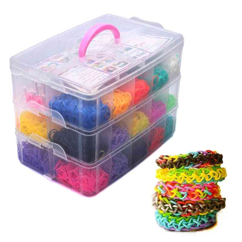 Super Size Rubber Loom Bands Mixed Box For Charms, Bracelet Making ,creative Diy Toy And Crafts Kit