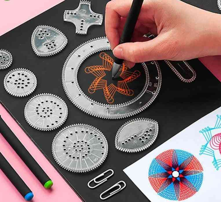 Spirograph Drawing Set - Interlocking Gears, Wheels, Painting Drawing, Creative Educational Toy