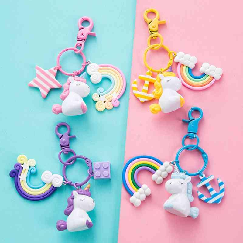Unicorn Key Pendant Keyring Plush - Peluche, Licorne, Anchor, Rainbow