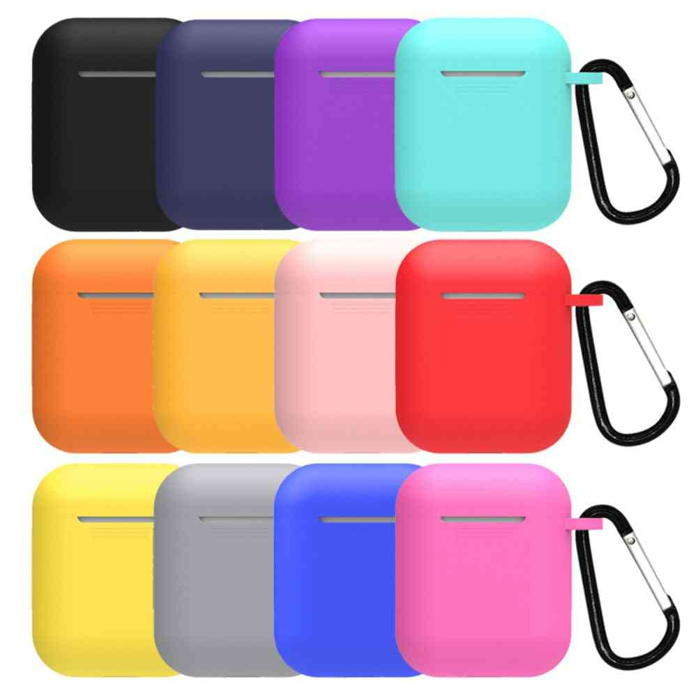 Silicone Protective Case With Hanging Buckle For Bluetooth Wireless Iphone Airpods