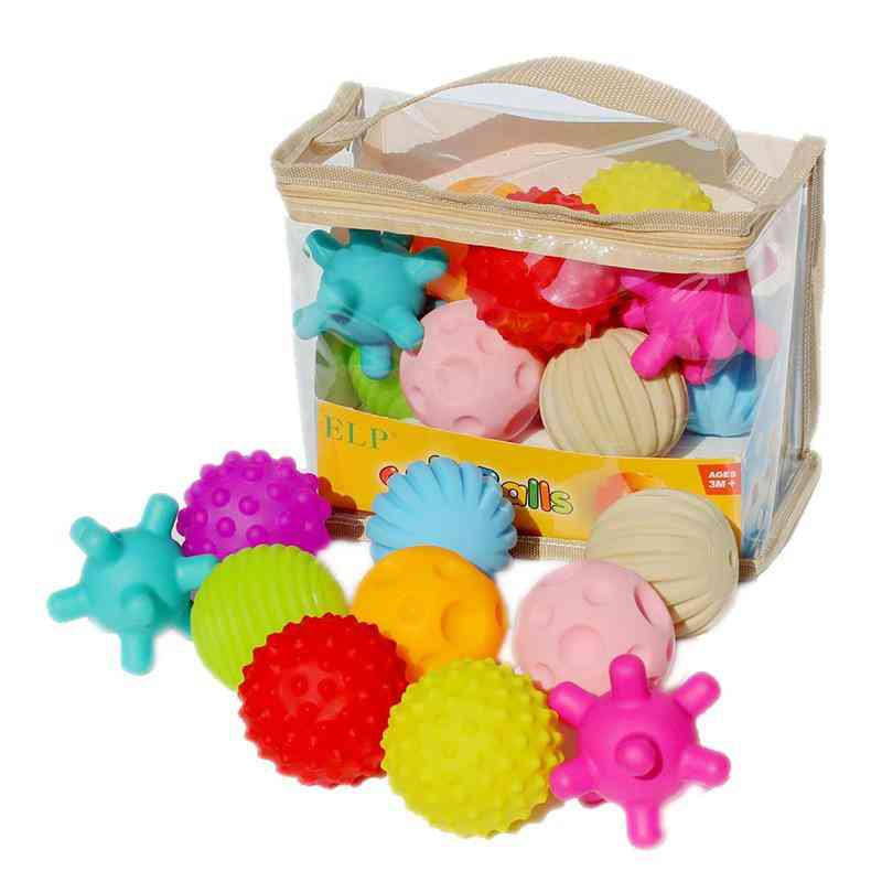 Baby Rubber Hand Ball -textured Touch Ball For Sensory Fun, Bath Time, Type - Colorful 6pcs