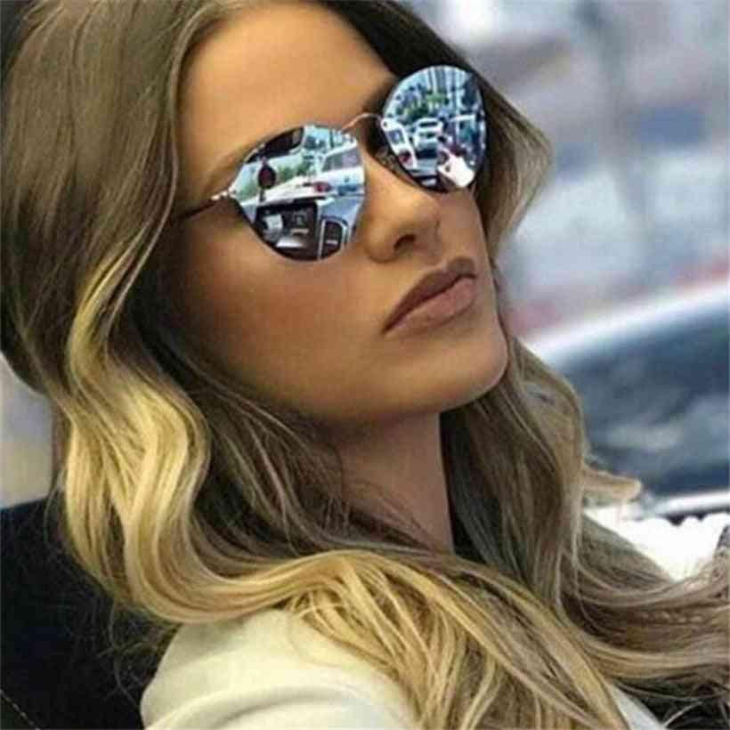 Cat Eye Luxury Sunglasses, Mirror Coated Glasses - Retro Rimless Metal Eyewear Uv400
