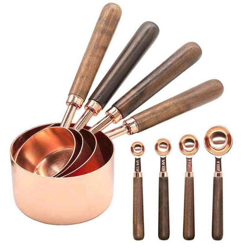 4 / 8pc tazas de medición de oro rosa de acero inoxidable y cuchara de medición juego de cucharas herramienta de medición de cocina con mango de madera para hornear