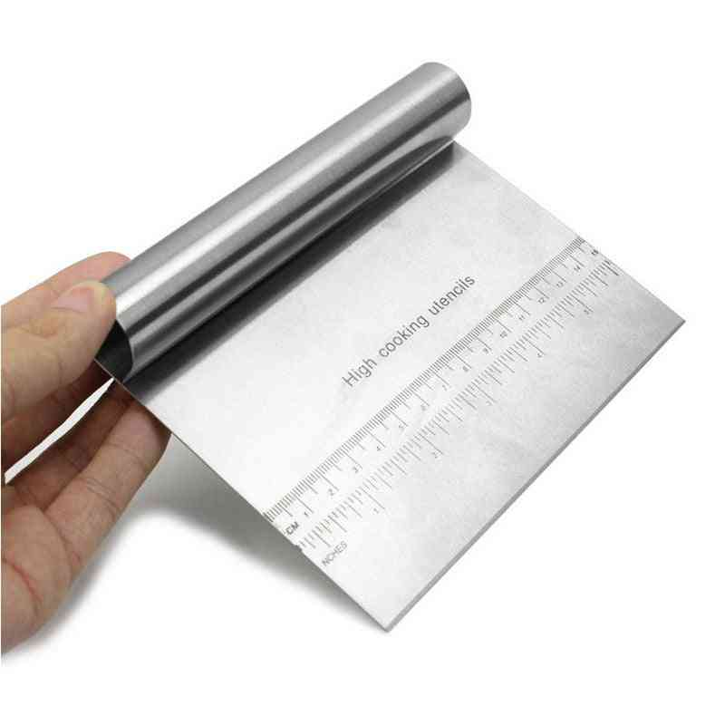 1pcs Stainless Steel Metal Griddle Scraper Chopper Great As Dough Cutter For Bread And Pizza Dough