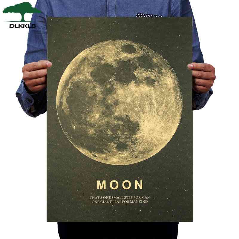 Moon Classic Poster A Great Step For Humans Kraft Paper Vintage Style Wall Sticker 51x36cm