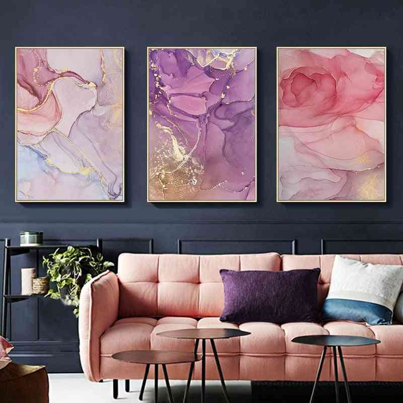 Colorful Golden Poster - Modern Abstract Canvas Painting Wall Art