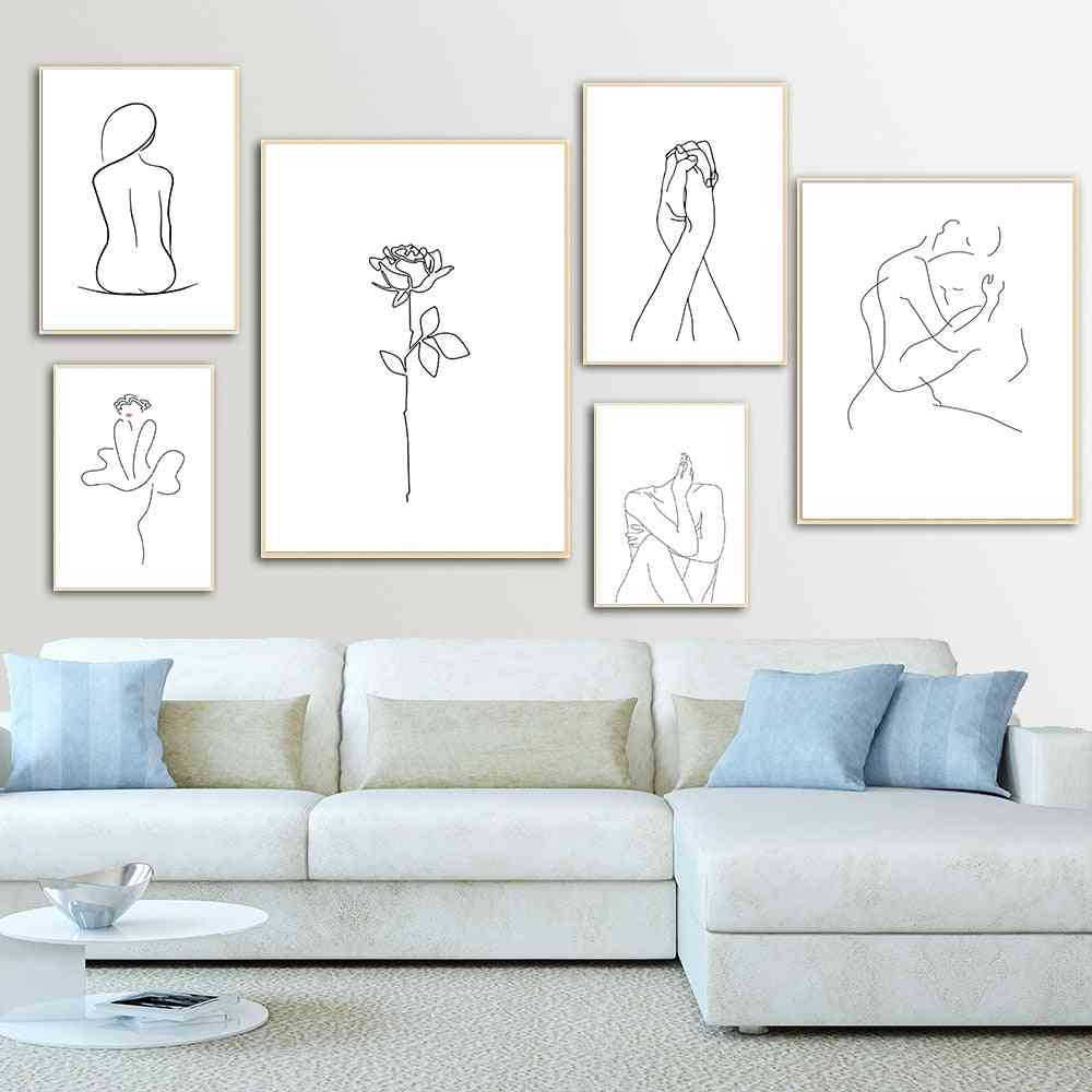 Abstract Lady Line Drawing Picture Home Decor Nordic Canvas Painting - Wall Art Figure Body Hand Posters And Print
