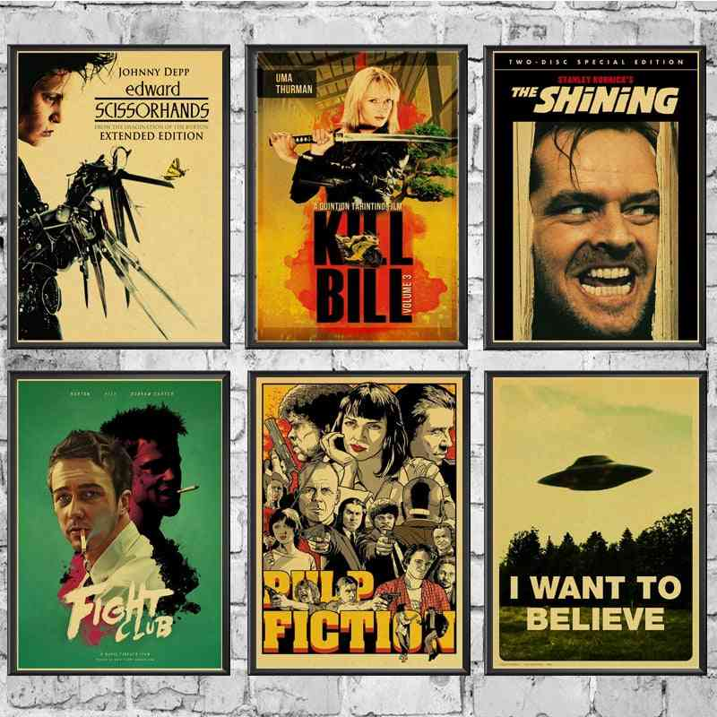 Classic Movie Fight Club/pulp Fiction/shining/kill Bill Poster Vintage Poster Wall Stickers