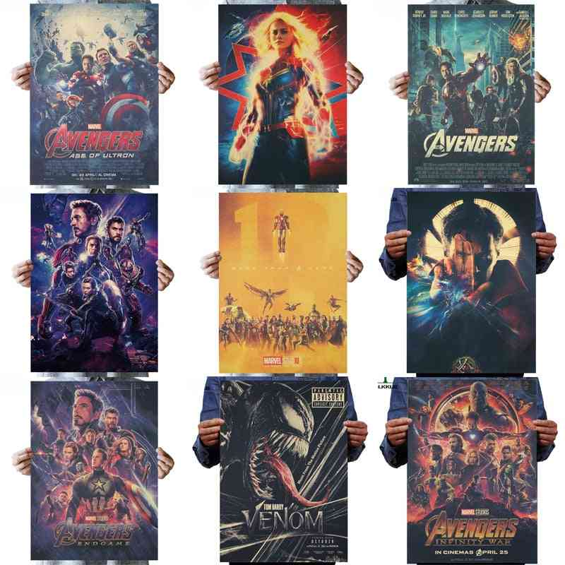 Marvel Movie Vintage Poster, Avengers Collection War - Wall Stickers