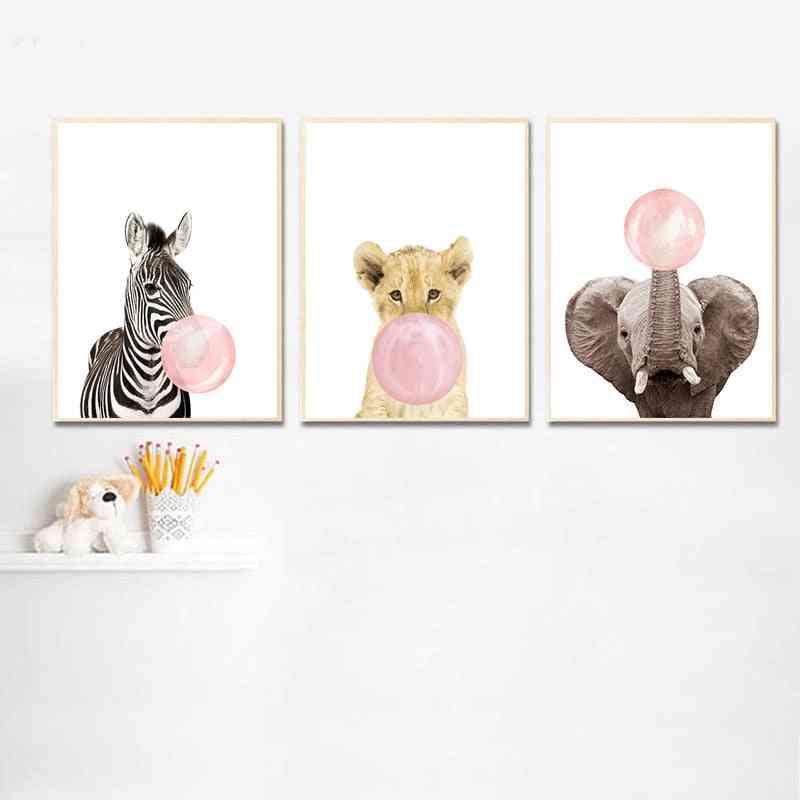 Pink Bubble, Elephant, Giraffe - Animal Wall Art Canvas, Nursery Print Painting