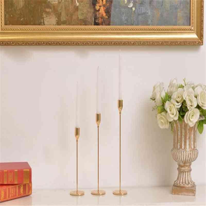 3 Pcs European Metal Candle Holder - Simple, Golden, Wedding Decoration, Bar Party , Living Room Decor