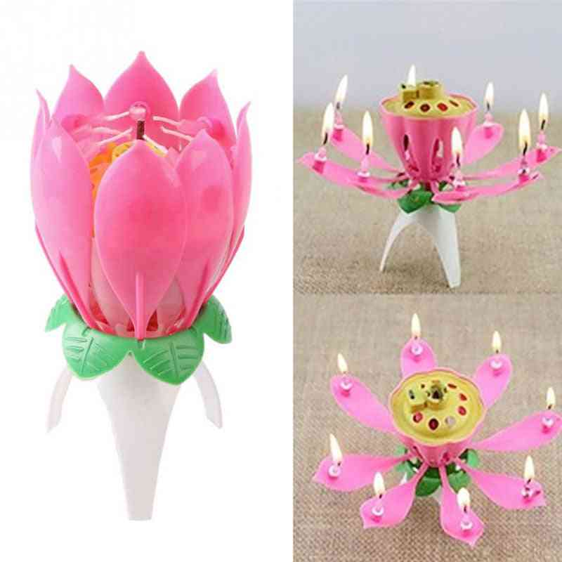 1pcs Lotus Flower With Music - Birthday Cake Candle