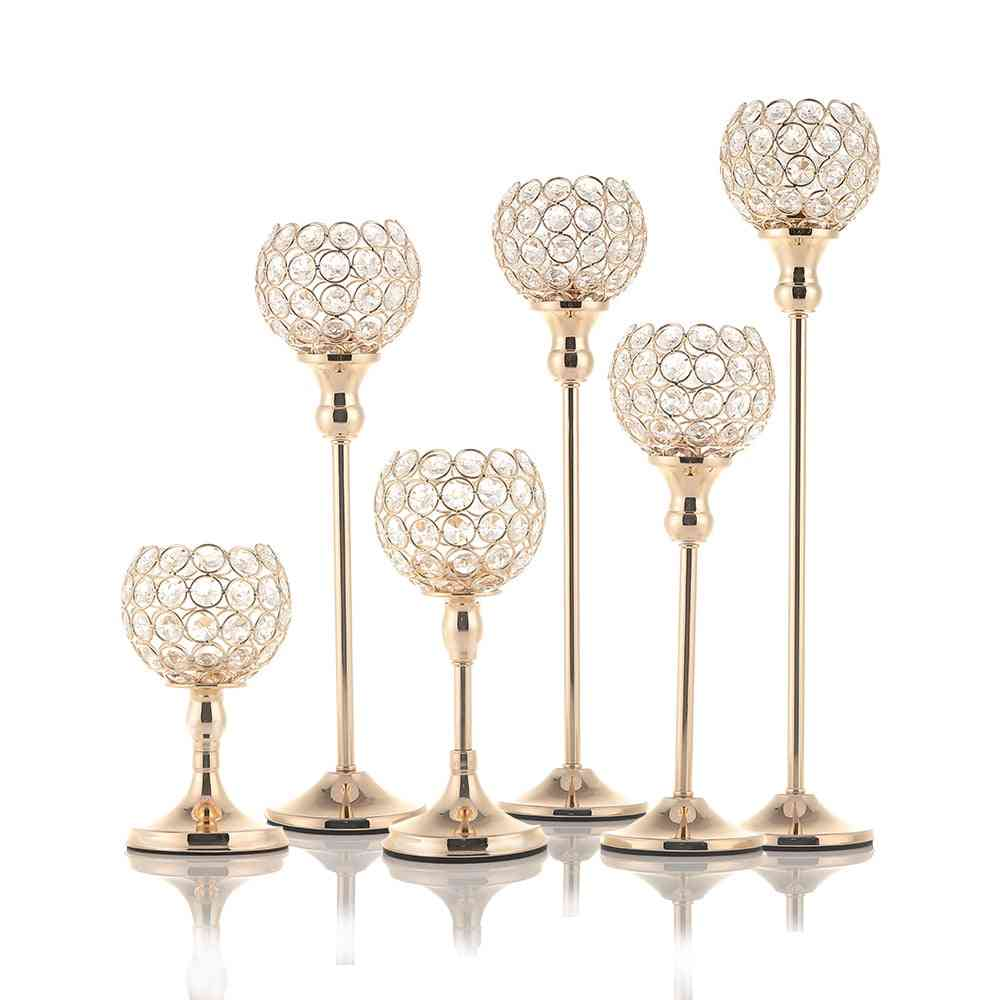 Crystal Tealight Candle Holders - Candlesticks For Wedding Table Centerpieces
