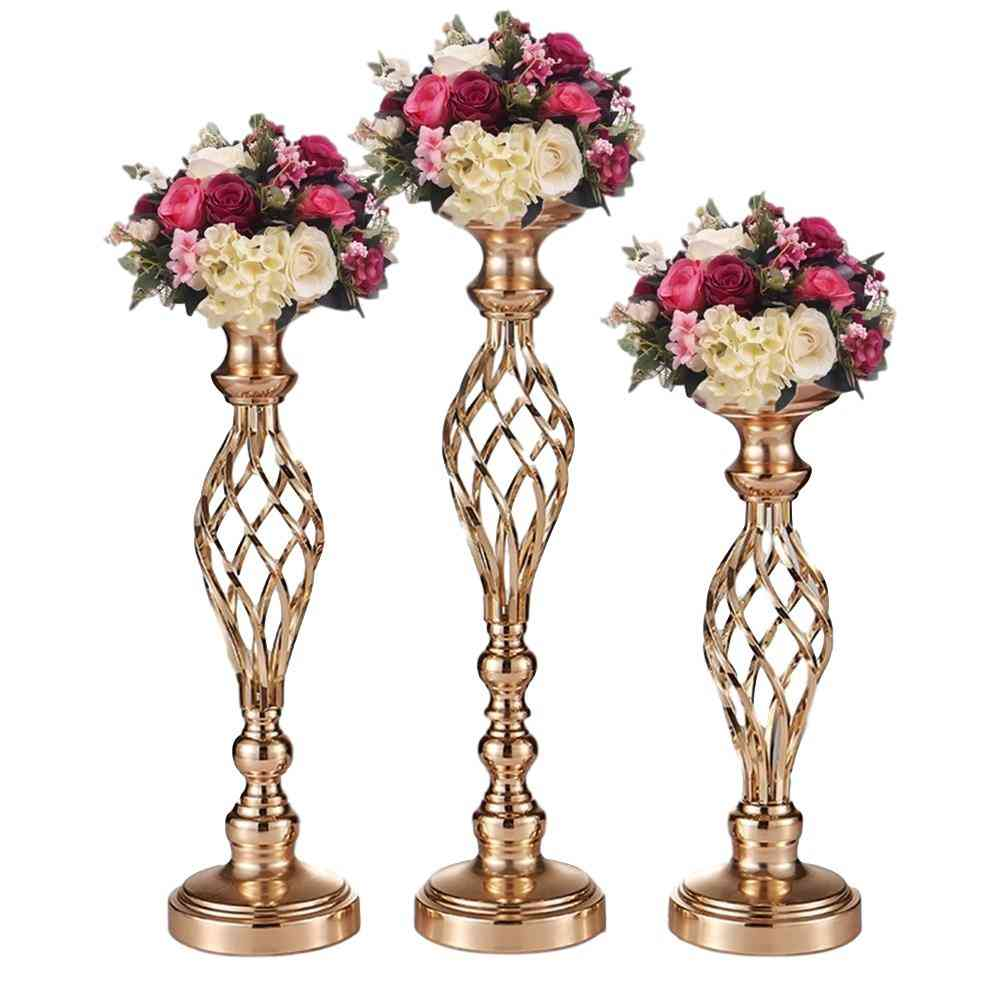 Creative Hollow Metal Candle Holder- Wedding Table Centerpiece Flower Vase Rack - Home Hotel Road Lead Decor
