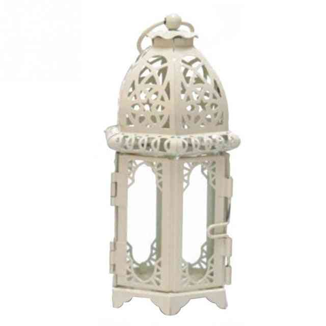Vintage Moroccan Windproof Candle Holders - Hanging Candle Lantern Iron Glass - Votive Candlestick