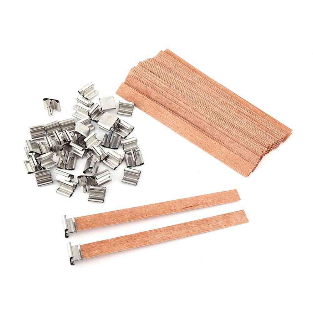 40pcs Wooden Wick Candle With Sustainer Tab Candle Wick Core For Diy Candle Making Pick