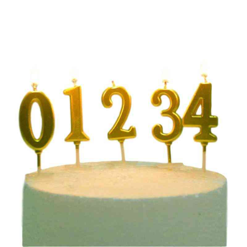1pcs Happy Birthday Cake Topper Gold Number Candles - Birthday Cake Decoration