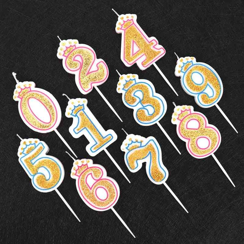 1pcs Shinning Gold Pink/blue Happy Birthday Number Candles (0 To 9)