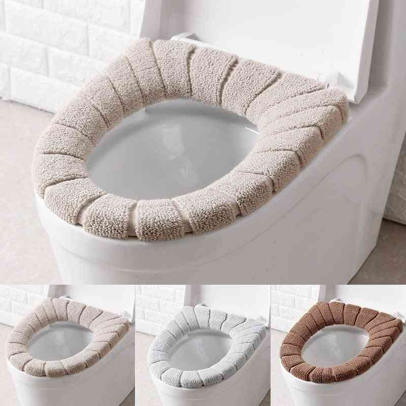 Comfortable Velvet Coral Winter Bathroom Toilet Seat Cover