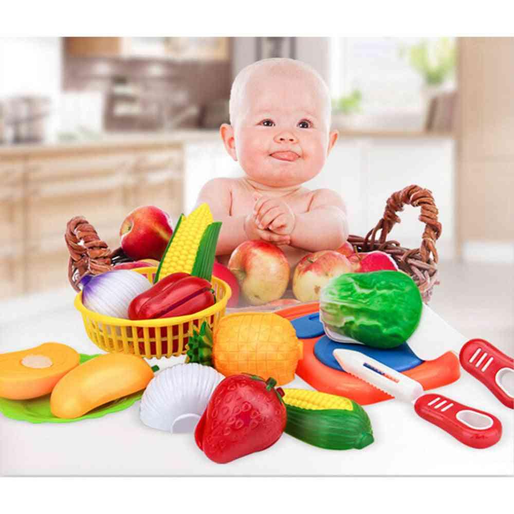 12pcs Play House Toy - Fruit Plastic Vegetables, Kitchen Playset