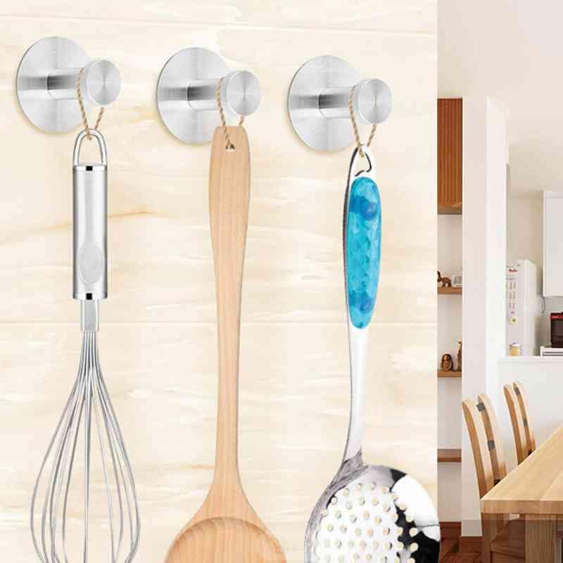 Stainless Steel Wall Hanger Storage Hook - Non-slip Type Paste Single Hook Bathroom, Kitchen Organizer