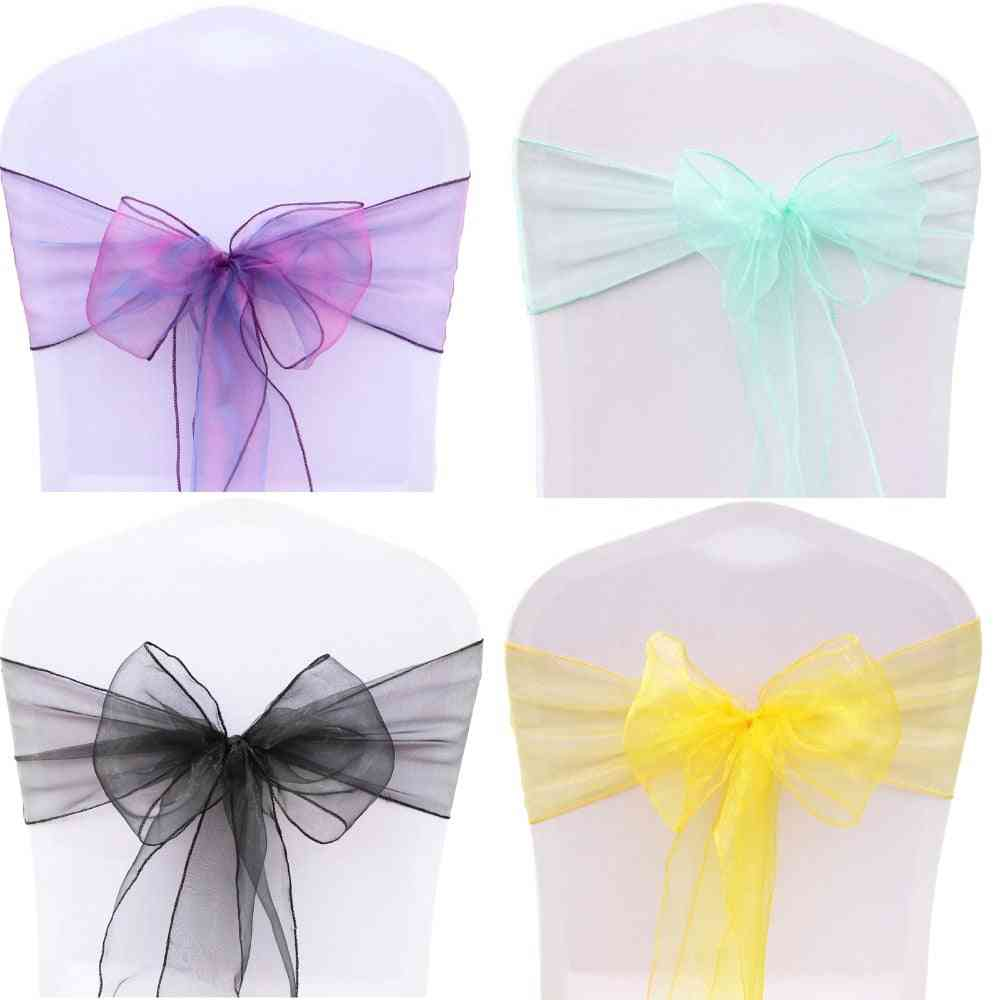 25pcs/set With 32 Colors Organza Chair Sashes For Event Ceremony Or Party Celebration