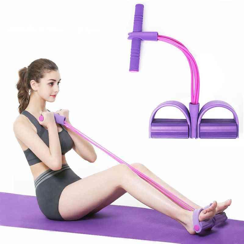 4 Tube Strong Fitness Resistance Bands - Latex Pedal Exerciser For Women Men Sit Up Pull Ropes - Yoga Fitness Equipment