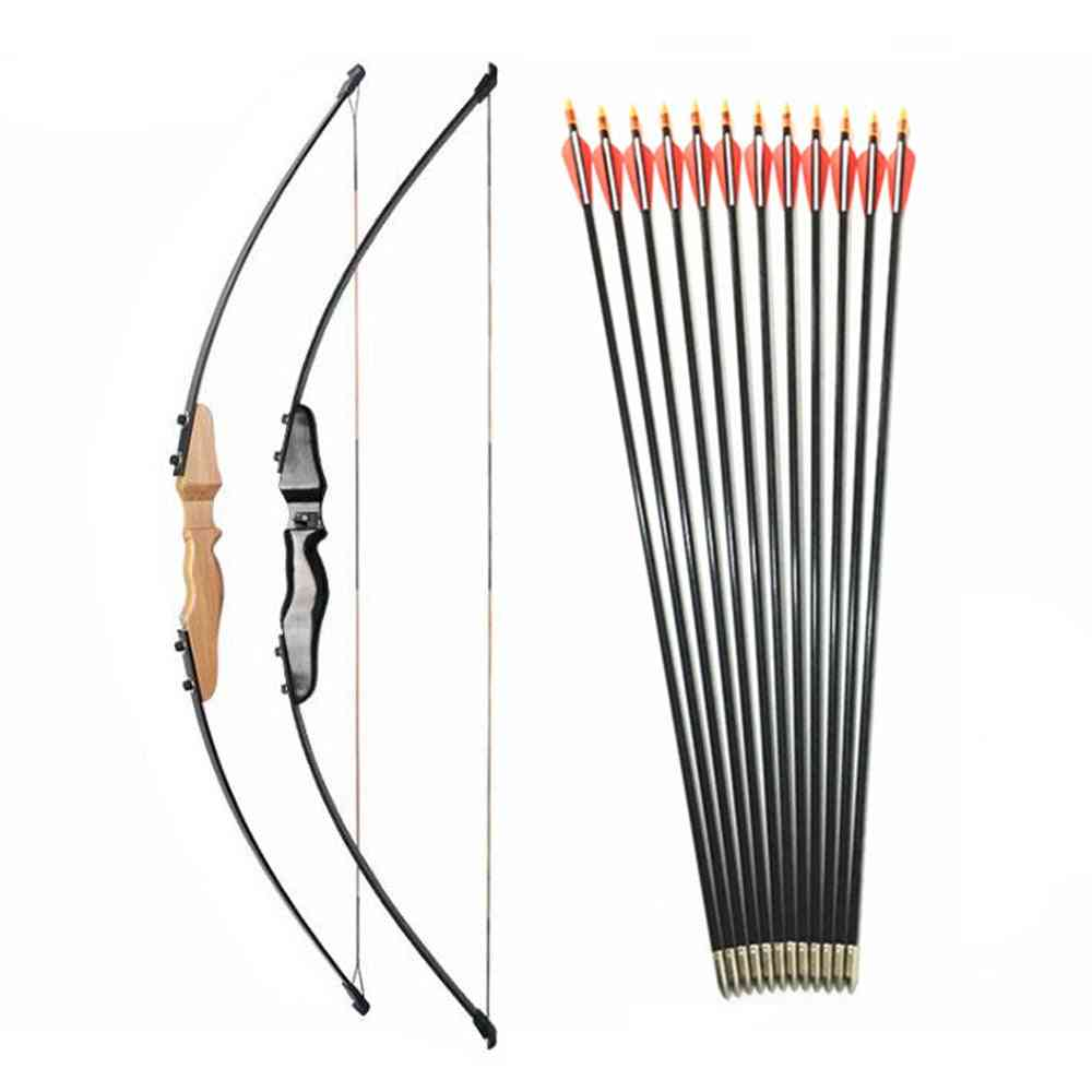 30 40lbs Straight Bow Split 51 Inches With Fibreglass Arrow For, Youth Archery