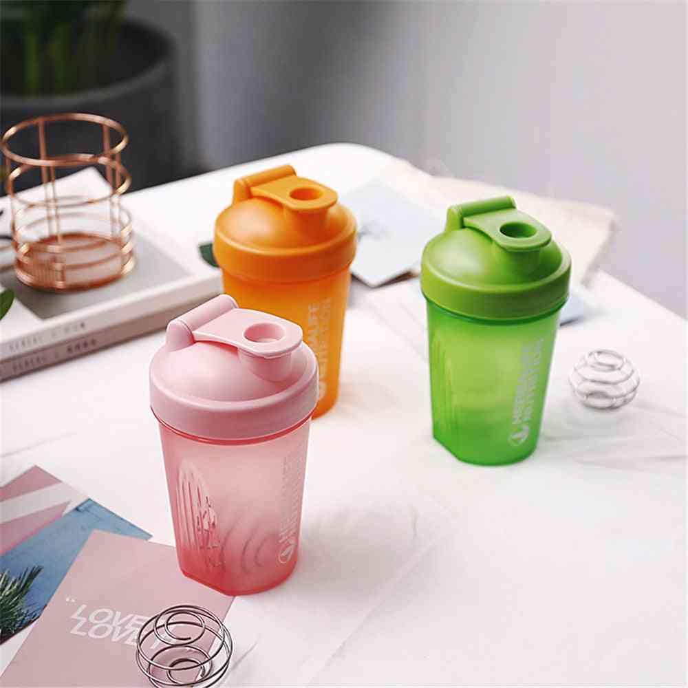 Portable Plastic Drink Sports Shaker Bottle -  Protein Powder Mixing Bottle Sport, Fitness Gym Shaker