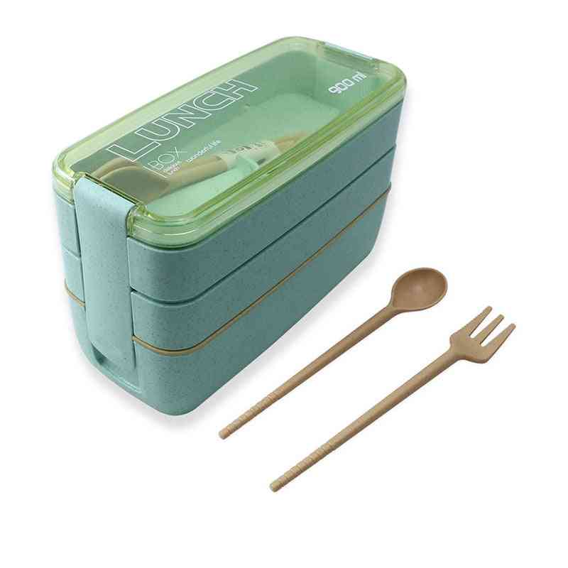 3 Layers Lunch Box Bento Food Container - Eco Friendly Wheat Straw Material