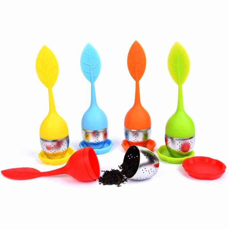 Tea Or Herbal Spice Infuser Tools - Leaf Silicone Strainer - Filter Diffuser