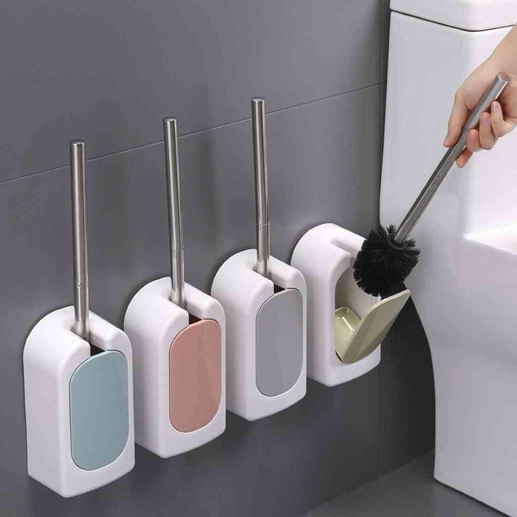 Stainless Steel Toilet Brush Wall Mounted Bathroom Brush Holder Set