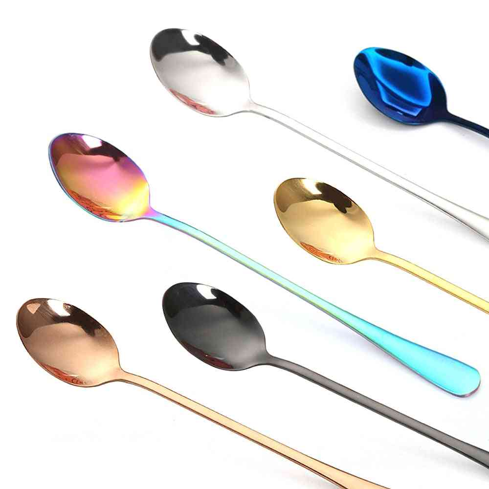 Vacuum Plating Stainless Steel Coffee Spoon With Long Handle