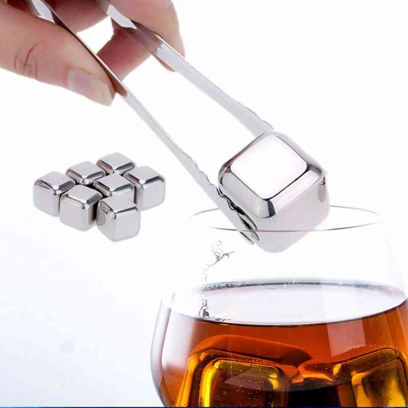 Reusable Golden Stainless Steel Whiskey Stones Ice Cubes Chilling Rocks - Ice Bucket Champagne, Beer Cooler Soapstone