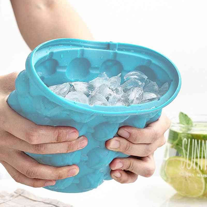 Silicone Ice Bucket Mold Large Form With Lid Space Saving Champagne Used For Whisky Beer Ice Cube Maker