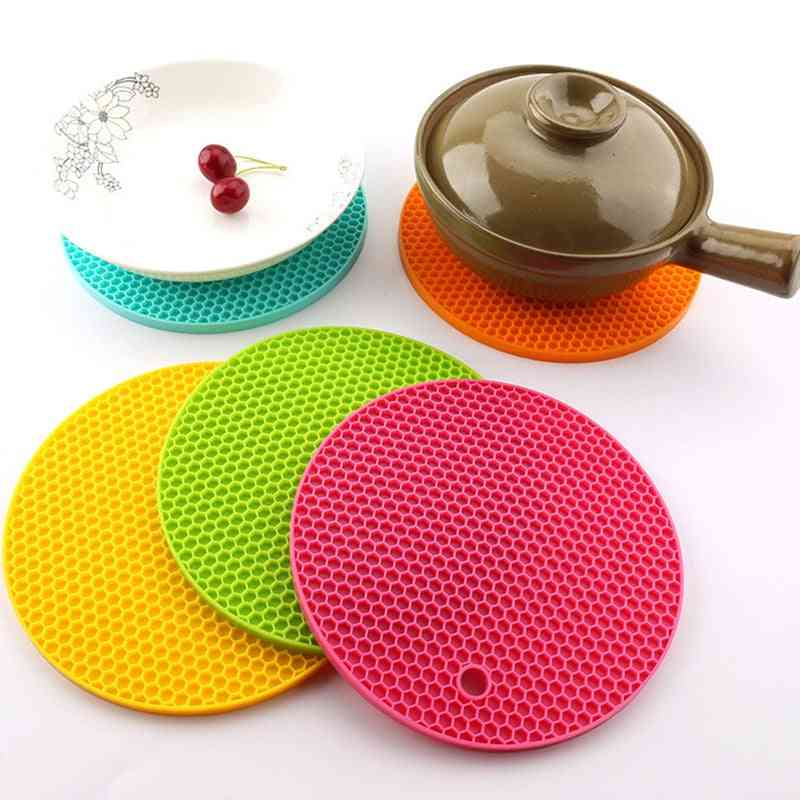 Round Heat Resistant Silicone Non Slip Pot Holder Or Mat Used For Place The Hot Dishes, Hot Pot Or Drinks