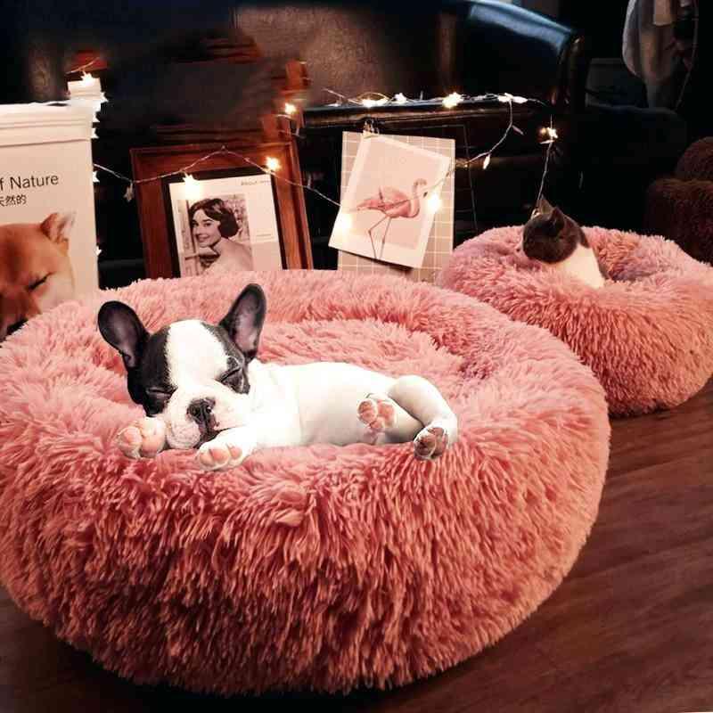 Long Plush Super Soft Pet Bed - Kennel Round Dog House - Big Large Mat Bench
