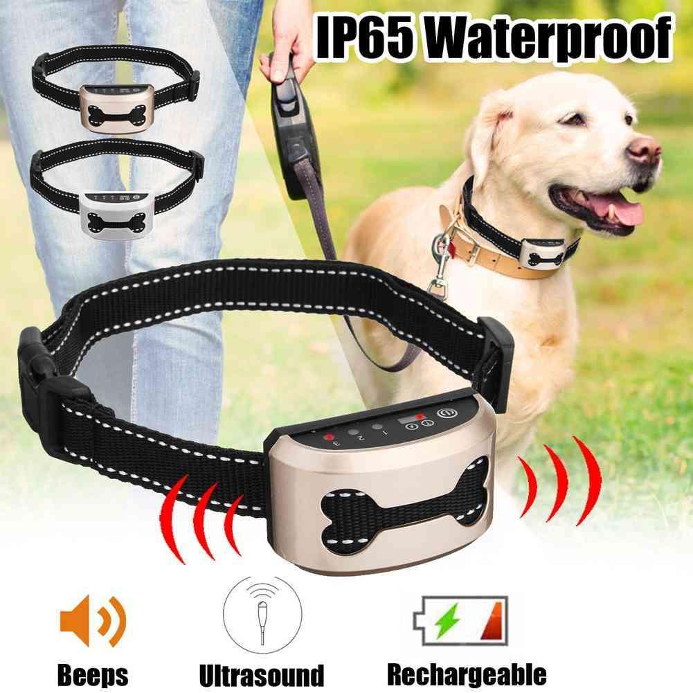 Intelligent Dog Anti Bark Collar - Ultrasonic Rechargeable Training Collars, Waterproof Vibration Dog Stop Barking Control