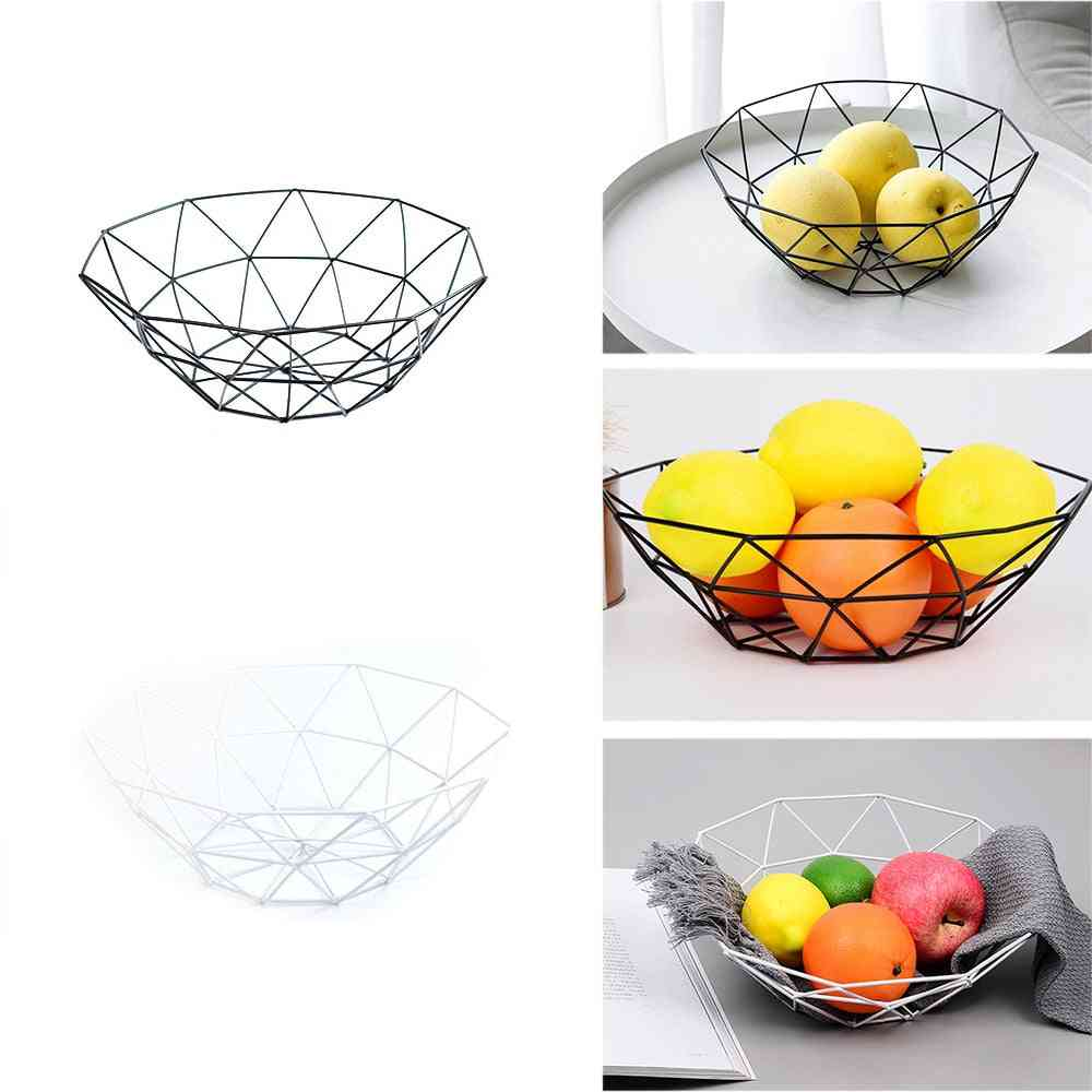 Metal Wire Basket Container Bowl - Kitchen Drain Rack Used For Fruit, Vegetable Storage