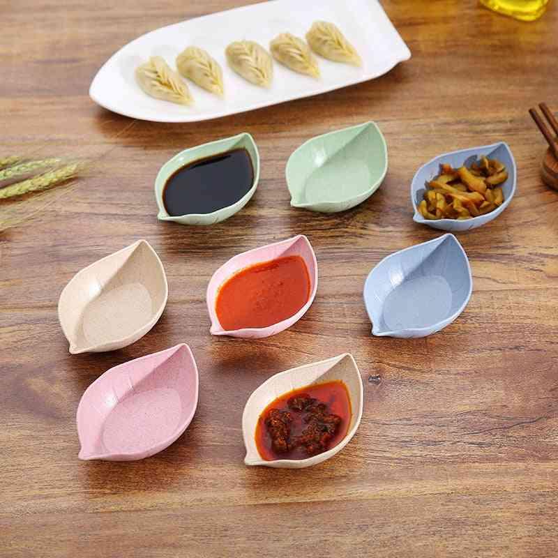 Food Leaf Shape Seasoned Sauce Plate Used For Mustard, Wheatgrass, Sauce
