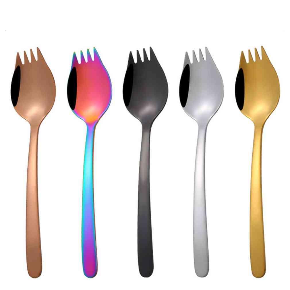 Creative Tableware 2 In 1 Fork Spoon - Multifunction Stainless Steel Spoon Tableware
