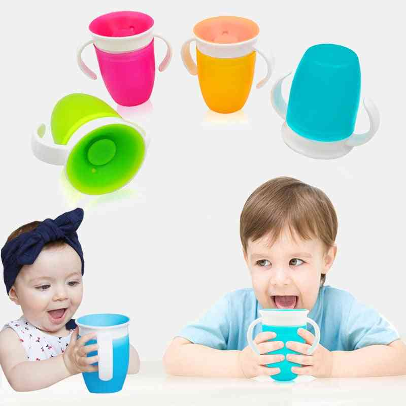 Leakproof Magic Kids Water Feeding Bottle - Baby Learning Drinking Plastic Cup With Double Handle Flip Lid