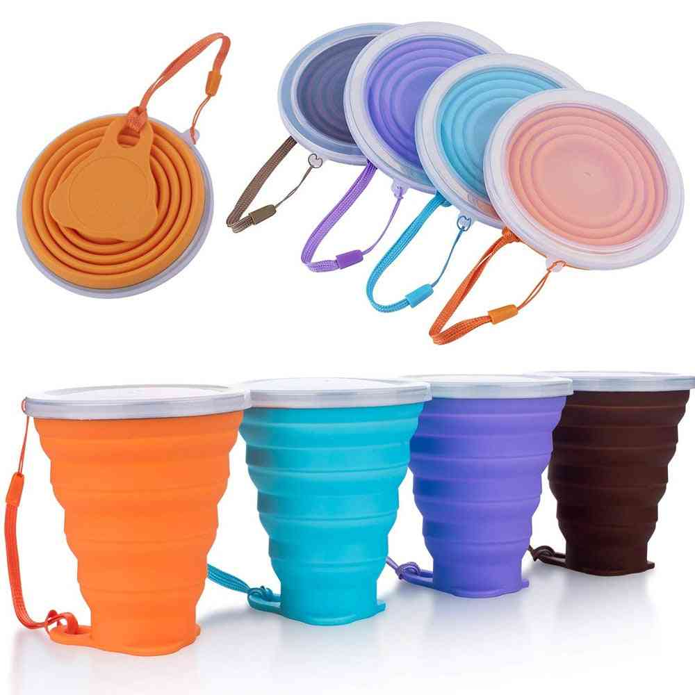 Folding Food Grade Water Cup - Silicone Retractable Coloured Portable