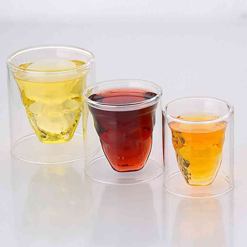 Novelty Cups Double Wall Skull Skeleton Glasses